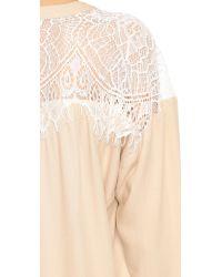 Ella Moss | Natural Amara Lace Placket Blouse - Shell | Lyst