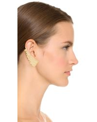 Joanna Laura Constantine - Metallic Crystal Statement Wing Earrings - Gold/clear - Lyst