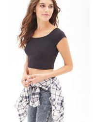 Forever 21 - Black Cap Sleeve Crop Top You've Been Added To The Waitlist - Lyst