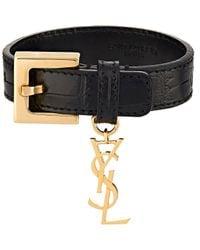 Saint Laurent - Black ysl Monogram Charm Bracelet - Lyst