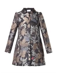 RED Valentino - Gray Floral And Owl-Jacquard Coat - Lyst