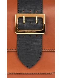 Burberry - Brown Md Square Buckle Bag In Tan Calf Leather - Lyst
