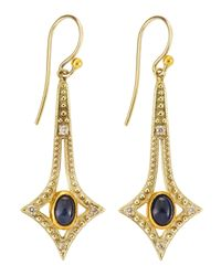 Gurhan - Diamond Blue Sapphire Fourpoint Star Drop Earrings - Lyst