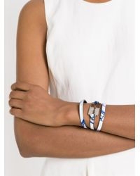 McQ | Blue Razor Blade Triple Wrap Bracelet | Lyst