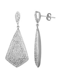 Lord & Taylor | Metallic Sterling Silver White Crystal Drop Earrings | Lyst