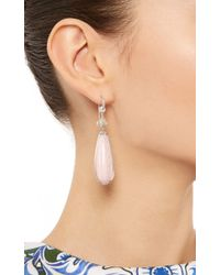 Nina Runsdorf - One Of A Kind 18K White Gold Diamond And Pink Opal Earrings - Lyst