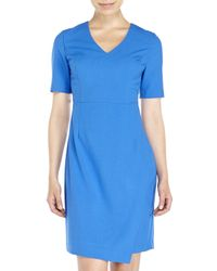 Marc New York | Blue V-Neck Sheath Dress | Lyst