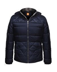 BOSS Orange | Blue 'c-orano' Jacket With A Quilt Effect for Men | Lyst
