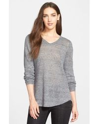 Eileen Fisher | Metallic Shaped Linen Jersey V-Neck Top | Lyst
