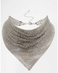 ASOS | Metallic Chainmail Silver Choker Necklace | Lyst