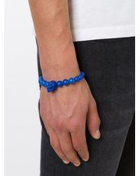 Alexander McQueen | Blue Beaded Skull Bracelet for Men | Lyst
