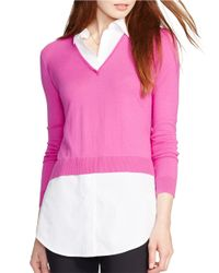 Lauren by Ralph Lauren - Pink Layered Sweater - Lyst