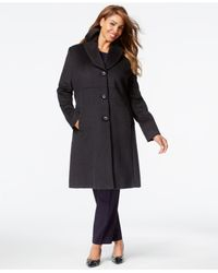 Jones New York | Gray Plus Size Empire-waist Walker Coat | Lyst