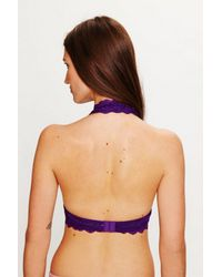 Free People - Purple Galloon Lace Halter Bra - Lyst