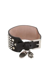 Alexander McQueen - Black Studded Leather Bracelet - Lyst