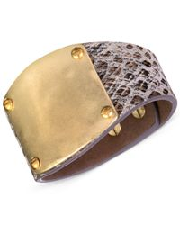 The Sak - Metallic Gold-tone And Python-like Leather Wrap Bracelet - Lyst