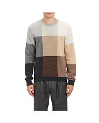 Paul Smith - Brown Checked Colorblocked Sweater for Men - Lyst