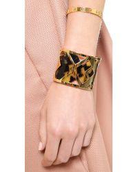 Tory Burch - Metallic Pierced T Cuff Bracelet - Shiny Gold - Lyst
