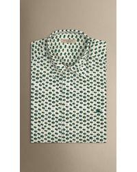 Burberry - Green Paint Print Silk Cotton Shirt for Men - Lyst