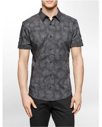 Calvin Klein - Gray White Label Slim Fit Micro Dot Print Short Sleeve Shirt for Men - Lyst
