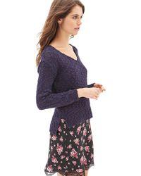 Forever 21 - Blue Slub Knit V-neck Sweater - Lyst
