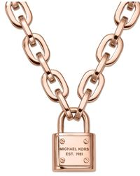 Michael Kors - Pink Chain And Padlock Pendant Necklace - Lyst