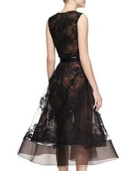 Oscar de la Renta - Black Sleeveless Sheer Lace Beaded Dress - Lyst