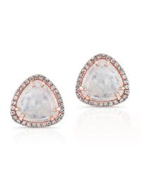 Anne Sisteron | Pink 14kt Rose Gold Diamond Moonstone Stud Earrings | Lyst