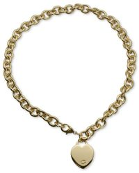 Guess - Metallic Gold-tone Heart Pendant Necklace - Lyst