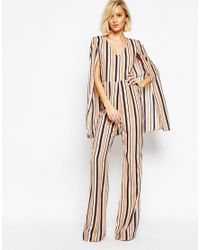 Lavish Alice - Multicolor Stripe Cape Detail Jumpsuit - Lyst