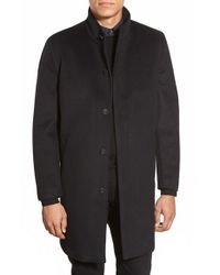 Vince Camuto | Black Laminated Topcoat for Men | Lyst