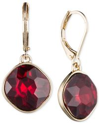 Nine West - Metallic Gold-tone Red Stone Drop Earrings - Lyst