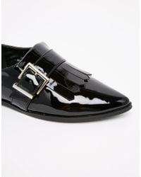 ASOS - Black Memo Fringe Flat Shoes - Lyst