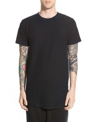 Civil Regime - Black 'thrash' Elongated French Terry Crewneck T-shirt for Men - Lyst