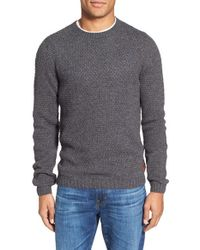 GANT | Gray 'donegal' Textured Crewneck Sweater for Men | Lyst