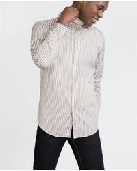 Zara | Natural Striped Shirt for Men | Lyst