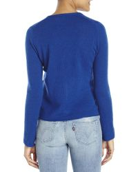 In Cashmere - Blue Petite V-Neck Knit Cardigan - Lyst