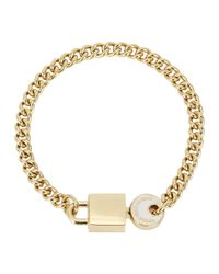 Marc By Marc Jacobs | Metallic Lock In White Gold Tone Bracelet | Lyst