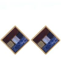 Lulu Frost - Blue Gold-tone Petra Stud Earrings - Lyst