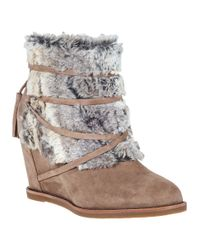Johnston & Murphy | Natural Brynn Suede Wedge Boots | Lyst