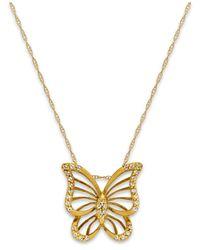 Macy's | Metallic Diamond (1/10 Ct. T.w.) Butterfly Pendant Necklace In 10k Gold | Lyst