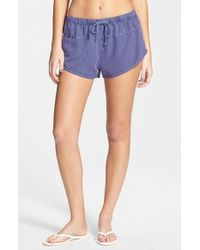 Volcom - Blue 'stand Up' Cotton Shorts - Lyst