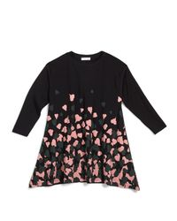 Gucci - Black Long-sleeve Heart-print Oversize Tee - Lyst