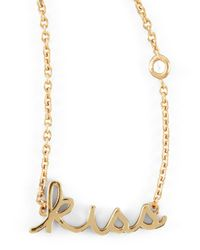 Shy By Sydney Evan | Metallic Kiss Word Diamond-Detail Gold-Plate Necklace | Lyst