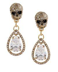 Betsey Johnson | Metallic All That Glitters Cubic Zirconia Skull Teardrop Earrings | Lyst