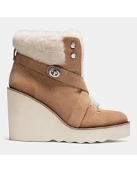 COACH | Brown Kenna Shearling Ankle Boots | Lyst