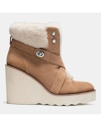 COACH - Brown Kenna Shearling Ankle Boots - Lyst