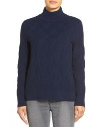 Nordstrom Collection | Blue Mock Neck Patterned Cashmere Sweater | Lyst