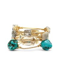Bourbon and Boweties | Blue 'Turquoise Dyed Agate & Iridescent Labradorite' Stone Bracelets - Turquoise/ Iridescent (Set Of 4) | Lyst