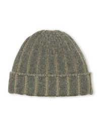 Sofia Cashmere | Green Ribbed Cashmere Beanie for Men | Lyst